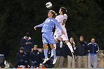 01 November 2012: UNC's Andy Craven (10) and Boston College's Matt Wendelken (8) challenge for a header. The University of North Carolina Tar Heels played the Boston College Eagles at Fetzer Field in Chapel Hill, North Carolina in a 2012 NCAA Division I Men's Soccer game. UNC defeated Boston College 4-0.