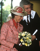 Princess Anne on a May 1985 visit to N Ireland is pictured with school principal, Bill Sillery, at the official opening of an extension to Belfast Royal Academy's Preparatory Department at its Ben Madigan campus. 19850501g..Copyright Image from Victor Patterson, 54 Dorchester Park, Belfast, UK, BT9 6RJ..Tel: +44 28 9066 1296.Mob: +44 7802 353836.Voicemail +44 20 8816 7153.Skype: victorpattersonbelfast.Email: victorpatterson@me.com.Email: victorpatterson@ireland.com (back-up)..IMPORTANT: If you wish to use this image or any other of my images please go to www.victorpatterson.com and click on the Terms & Conditions. Then contact me by email or phone with the reference number(s) of the image(s) concerned.