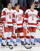 Wade Megan (BU - 18), Matt Ronan (BU - 20), Ryan Ruikka (BU - 2) - The Boston University Terriers defeated the visiting University of Toronto Varsity Blues 9-3 on Saturday, October 2, 2010, at Agganis Arena in Boston, MA.
