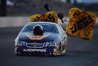 May 18, 2012; Topeka, KS, USA: NHRA pro stock driver Vincent Nobile during qualifying for the Summer Nationals at Heartland Park Topeka. Mandatory Credit: Mark J. Rebilas-