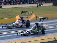 Oct 16, 2016; Ennis, TX, USA; NHRA top fuel driver Brittany Force (near) alongside Terry McMillen during the Fall Nationals at Texas Motorplex. Mandatory Credit: Mark J. Rebilas-USA TODAY Sports