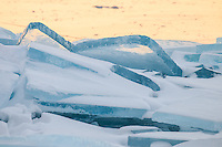 &quot;Lake Superior Blue Ice&quot;<br /> Stacks of blue plate ice are piled on the North Shore of Lake Superior at sunrise. As icing on the cake, the big lake was singing this morning too.
