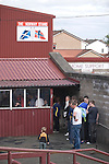 Supporters of Alloa Athletc football club queueing for refreshments at half time at Ochilview stadium, Larbert, during their Irn Bru Scottish League second division match against Stenhousemuir. Alloa won the match by one goal to nil against their local rivals in a match watched by 619 spectators.