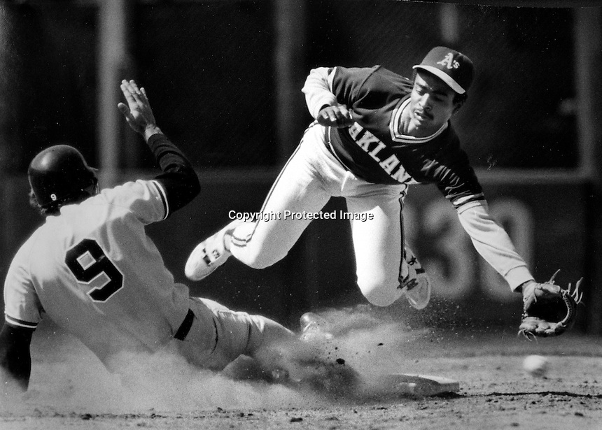 Oakland Athletics infielder Tony Phillips takes throw at 2nd base. (1983 photo by Ron Riesterer)