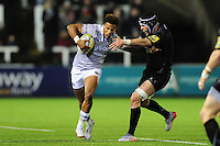 Anthony Watson of Bath Rugby takes on the Newcastle Falcons defence. Aviva Premiership match, between Newcastle Falcons and Bath Rugby on January 6, 2017 at Kingston Park in Newcastle upon Tyne, England. Photo by: Patrick Khachfe / Onside Images