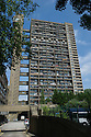 """London, UK. 21.07.2013. Fruit For The Apocalypse presents """"The Ballad of Skinny Lattes and Vintage Clothing"""", in the site-specific location of Trellick Tower, as part of Kensington and Chelsea's InTransit festival. Picture shows: Trellick Tower exterior. Photograph © Jane Hobson."""