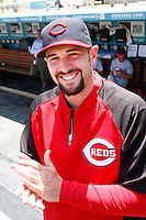15 June 2011:  Reds pitcher #45 Bill Bray in the dugout before a Major League Baseball game LA Dodgers vs the Cincinnati Reds at Dodger Stadium during a day game.  **Editorial Use Only**