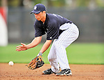 5 March 2011: New York Yankees' infielder Doug Bernier warms up prior to a Spring Training game against the Washington Nationals at George M. Steinbrenner Field in Tampa, Florida. The Nationals defeated the Yankees 10-8 in Grapefruit League action. Mandatory Credit: Ed Wolfstein Photo