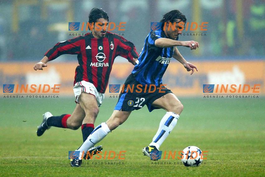 Milano 21/2/2004<br /> Milan Inter 3-2 <br /> Christian Vieri (Inter) and Gennaro Gattuso (Milan)<br /> Foto Carlo Baroncini Insidefoto