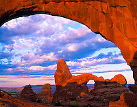 Turret Arch Through North Window, Arches National Park, Utah  Window section sunrise