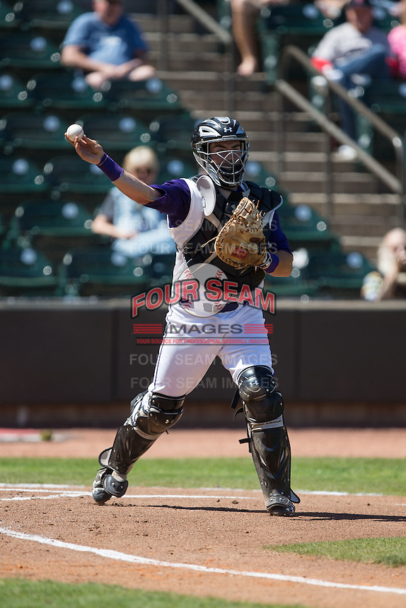 Winston-Salem Dash catcher Brett Austin (7) makes a throw to first base against the Salem Red Sox at BB&T Ballpark on April 17, 2016 in Winston-Salem, North Carolina.  The Red Sox defeated the Dash 3-1.  (Brian Westerholt/Four Seam Images)