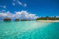 Maldives, Rangali Island. Conrad Hilton Resort. The water villas over the ocean.