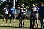 26 October 2008: Duke's Kelly Hathorn (6) is hugged by associate coach Billy Lesesne during Senior Day festivities. The Duke University Blue Devils defeated the Clemson University Tigers 6-0 at Koskinen Stadium in Durham, North Carolina in an NCAA Division I Women's college soccer game.