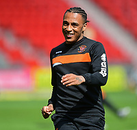 Blackpool's Neil Danns during the pre-match warm-up <br /> <br /> Photographer Chris Vaughan/CameraSport<br /> <br /> The EFL Sky Bet League Two - Doncaster Rovers v Blackpool - Keepmoat Stadium - Doncaster<br /> <br /> World Copyright &copy; 2017 CameraSport. All rights reserved. 43 Linden Ave. Countesthorpe. Leicester. England. LE8 5PG - Tel: +44 (0) 116 277 4147 - admin@camerasport.com - www.camerasport.com