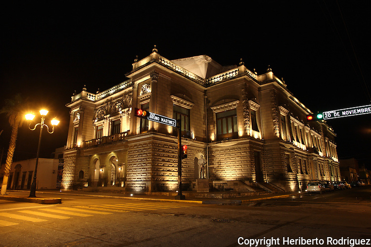 A nocturnal view of the Ricardo Castro theater  in Durango city in northern state of Durango. Photo by Heriberto Rodriguez