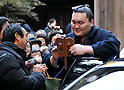 "Hakuho, Tokyo, Japan, January 6, 2012 : Mongolian grand sumo champion Yokozuna Hakuho signs an autograph for fan after the ""ring entering ceremony"" for dedication at Meiji Shrine, Tokyo, Japan, on January 6, 2012. (Photo by AFLO)"