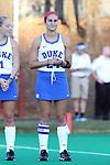 16 October 2015: Duke's Aileen Johnson. The University of North Carolina Tar Heels hosted the Duke University Blue Devils at Francis E. Henry Stadium in Chapel Hill, North Carolina in a 2015 NCAA Division I Field Hockey match. UNC won the game 2-1.