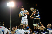 Ollie Atkins of Exeter Chiefs wins the ball at a lineout. West Country Challenge Cup match, between Bath Rugby and Exeter Chiefs on October 10, 2015 at the Recreation Ground in Bath, England. Photo by: Patrick Khachfe / Onside Images