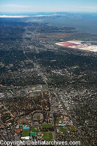 high overview aerial photograph Palo Alto, Stanford University, El Camino Real, Santa Clara county, California