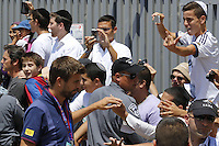 FC Barcelona football player GERARD PIQUE arrives with the FC Barcelona team to the Western Wall in Jerusalem's Old City. The star-studded soccer club FC Barcelona landed in Israel yesterday for a two-day visit in the country and in the Palestinian territories. They began their visit in an event in the West bank city of Hebron. Tonight, they will hold an open practice in Jaffa's Bloomfield Stadium, near Tel Aviv. August 04, 2013.Photo by Oren Nahshon