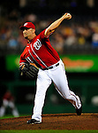 22 August 2009: Washington Nationals' pitcher Ron Villone on the mound in relief against the Milwaukee Brewers at Nationals Park in Washington, DC. The Nationals fell to the Brewers 11-9, in the second game of their four-game series. Mandatory Credit: Ed Wolfstein Photo