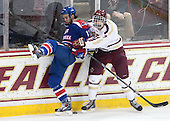 Adam Chapie (UML - 13), Isaac MacLeod (BC - 7) - The Boston College Eagles defeated the visiting University of Massachusetts Lowell River Hawks 3-0 on Friday, February 21, 2014, at Kelley Rink in Conte Forum in Chestnut Hill, Massachusetts.