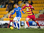 St Johnstone v Partick Thistle&hellip;02.03.16  SPFL McDiarmid Park, Perth<br />Danny Swanson holds off Liam Lindsay<br />Picture by Graeme Hart.<br />Copyright Perthshire Picture Agency<br />Tel: 01738 623350  Mobile: 07990 594431