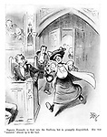 "Signora Dorando is first into the stadium, but is promptly disqualified. She was ""assisted"" almost up to the tape. (an Edwardian cartoon shows a Suffragette breaking into parliament during the 1908 Olympics)"