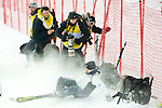 Jan 04 2009; Slejeme Zagreb Croatia,  A course worker crashes into a pack of photographers at the bottom of a steep icy slope at the Audi FIS Alpine Ski World cup ladies slalom race. The race was won by Maria RIESCH (GER). Mandatory credit: Mitch Gunn-sportsphotographer.eu