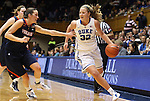02 January 2012: Duke's Tricia Liston (32) is defended by Virginia's Chelsea Shine (left). The Duke University Blue Devils defeated the University of Virginia Cavaliers 77-66 at Cameron Indoor Stadium in Durham, North Carolina in an NCAA Division I Women's basketball game.