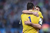 FUSSBALL WM 2014                HALBFINALE Niederlande - Argentinien       09.07.2014 Torwart Sergio Romero und Lionel Messi (beide Argentinien) jubeln nach dem Sieg