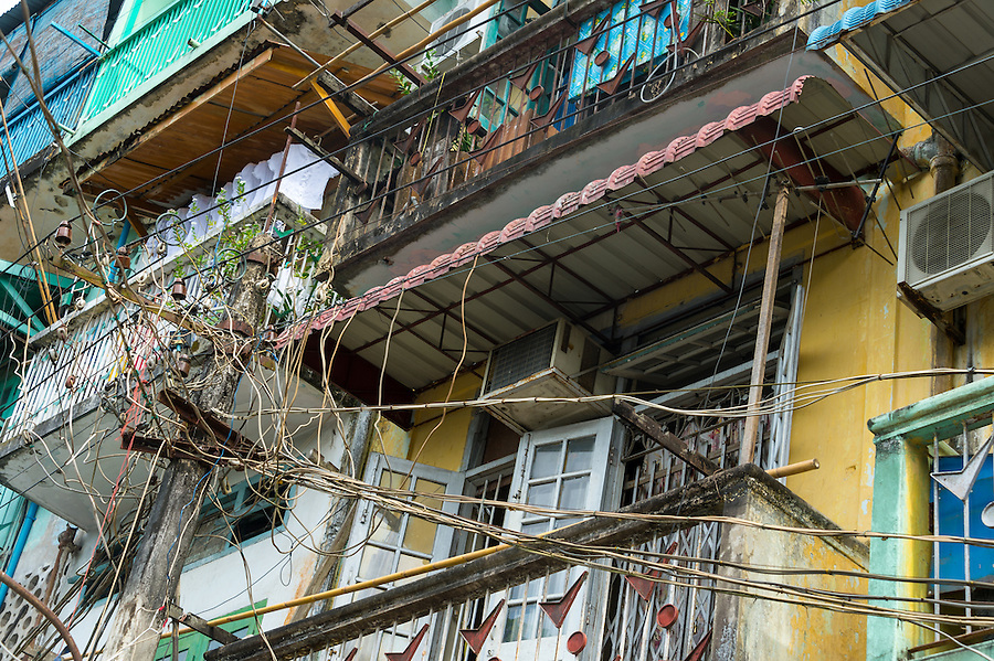 YANGON, MYANMAR - CIRCA DECEMBER 2013: View of electric post in the streets of Yangon