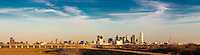 Panoramic view of the city of Dallas from the Westmoreland street bridge in late afternoon.