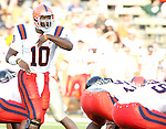 2 September 2006: Syracuse quarterback Perry Patterson (10) directs traffic and calls an audible at the line of scrimmage. Wake Forest defeated Syracuse 20-10 at Groves Stadium in Winston-Salem, North Carolina in an NCAA college football game.