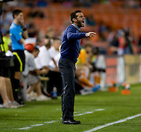 DC United head coach Ben Olsen yells to his team during their game at RFK Stadium in Washington, DC.  Houston defeated D.C. United, 3-1.