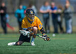 16 April 2016: University of Maryland, Baltimore County Retriever Attacker Zach Kalas, a Freshman from Annapolis, MD, in action against the University of Vermont Catamounts at Virtue Field in Burlington, Vermont. The Retrievers fell to the Catamounts 14-10 in NCAA Division I play. Mandatory Credit: Ed Wolfstein Photo *** RAW (NEF) Image File Available ***