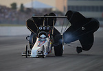 May 18, 2012; Topeka, KS, USA: NHRA top alcohol dragster driver Chris Demke during qualifying for the Summer Nationals at Heartland Park Topeka. Mandatory Credit: Mark J. Rebilas-