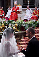 Pope Francis.celebration marriage 20 couples.in St. Peter's Basilica. the Vatican.September 14,2014