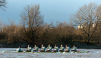 PUTNEY, LONDON, ENGLAND, 05.03.2006,Cambridge paddling towards Hammersmith bridge. Pre 2006 Boat Race Fixtures,.   © Peter Spurrier/Intersport-images.com..CUBC, Bow Luke Walton, No. 2 Tom Edwards, No.3 Sebastian Thormann, No 4. Thorsten Englemann, No.5 Sebastian Schulte, No.6 Kieran West, No.7 Tom James, stroke Kip McDaniel and cox Peter Rudge.[Mandatory Credit Peter Spurrier/ Intersport Images] Varsity Boat Race, Rowing Course: River Thames, Championship course, Putney to Mortlake 4.25 Miles
