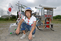"Kazuki Abe (18) with his decochari customized bicycle. The bicycle took 7 months to make. ""There are only 10 people in our national decochari club. We need to try harder."""