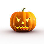 Halloween evil jack-o-lantern conceptual 3D illustration on white