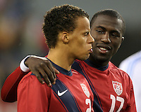 Timothy Chandler(21) and Jozy Altidore(17) of the USA MNT during an international friendly match against Paraguay at LP Field, in Nashville, TN. on March 29, 2011.Paraguay won 1-0.