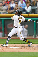 Eric Young Jr. (8) of the Salt Lake Bees follows through on his swing against the Sacramento River Cats during the Pacific Coast League game at Smith's Ballpark on August 11, 2017 in Salt Lake City, Utah.The River Cats defeated the Bees 8-7. (Stephen Smith/Four Seam Images)