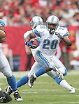 Detroit Lions running back Maurice Morris (28) looks for an opening in the Tampa Bay Buccaneer defense during an NFL football game between the Buccaneers and the Lions Sunday in Tampa, Fla, December 19, 2010. The Lions defeated the Buccaneers 23-20 in overtime. (AP/Margaret Bowles)