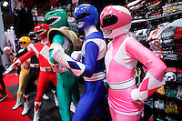 New York City, NY. 10 October 2014. A group of people dress up as power rangers take part during the 2014 New York Comic Con fair at the Jacob Javits Center. Photo by Kena Betancur/VIEWpress