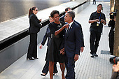 On the 10th anniversary of the September 11th attacks,  First Lady Michelle Obama and President Obama at the North Pool at the September 11th Memorial at the World Trade Center site in New York, New York on September 11, 2011..Credit: Jefferson Siegel / Pool via CNP
