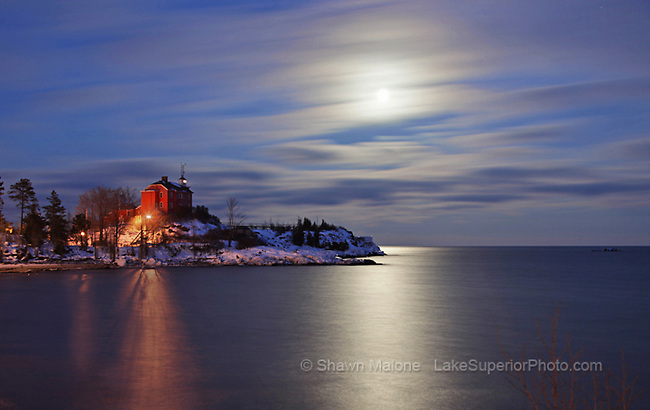 Marquette Lighthouse and moonrise lighthouses in the Upper Peninsula of Michigan