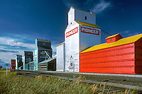 Wheat graineries, Claresholm, Alberta agriculture. Claresholm Alberta Canada.
