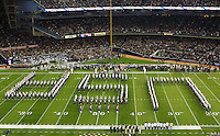Notre Dame's marching band on the field of Yankee Stadium, Bronx, NY performing before the start of the Notre Dame vs. Army football game on Saturday, November 20, 2010. Photo by Errol Anderson