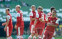 FUSSBALL   DFB POKAL   SAISON 2012/2013   1. Hauptrunde FC Oberneuland - Borussia Dortmund            18.08.2012 Enttaeuschte Oberneulaender: Fabrizio Muzzicato, Dominic Krogemann, Nils Laabs, Soeren Seidel, Mahmut Aktas (v.l.)